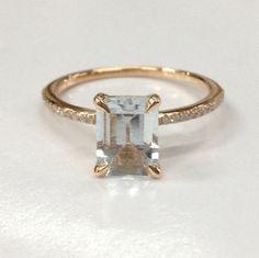 Emerald Cut Aquamarine Engagement Ring Pave Diamond Wedding 14K Rose Gold 6x8mm - Lord of Gem Rings - 1