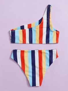 Bañador bikini de un hombro de rayas | Moda de Mujer | SHEIN México Bikinis, Swimsuits, Swimwear, One Shoulder Bikini, Thing 1, Fashion, Stripes, Feminine Fashion, Men