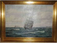 Gold Framed Seascape by Danish Artist Frants Landt Estimated Value $2,200  https://www.biddingforgood.com/auction/item/item.action?id=211202353