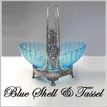 EAPG George Duncan Blue Shell & Tassel Brides Basket - $506