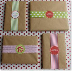 Simple wrapping - Kraft paper, wide printed ribbon & gift label