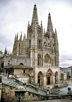 Burgos: The home of El Cid, Spain's national hero. Its cathedral is one of the finest in Europe, and contains the tomb of El Cid Cathedral Basilica, Cathedral Church, Religious Architecture, Gothic Architecture, Places In Spain, Places To Go, Magic Places, Madrid, Old Churches