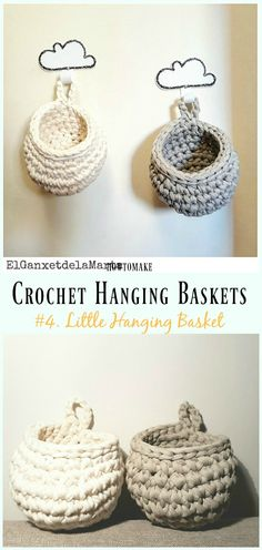 Crochet Hanging Basket Free Pattern- Hanging #Basket; Free #Crochet; Patterns