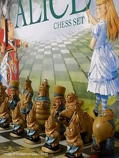 Alice in wonderland hand decorated theme shess set - Beginners chess sets and chess sets for children. made by ground stone and polyresin.