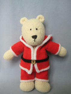 knitted teddy in Santa outfit pdf pattern by fluff and fuzz