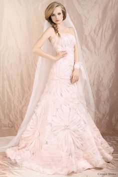 pink flower wedding dress 2012 by   Cherie Sposa Wedding Dresses 2012
