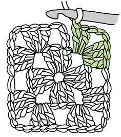 The Humble Granny Square – Renate Kirkpatrick's Freeform Crochet~Knit~Fibre Designs Häckeln mit Anleitung per Zeichnung. The post The Humble Granny Square – Renate Kirkpatrick's Freeform Crochet~Knit~Fibre Designs appeared first on Welcome! Point Granny Au Crochet, Granny Square Crochet Pattern, Crochet Squares, Crochet Blocks, Crochet Diagram, Crochet Motifs, Freeform Crochet, Crochet Stitches, Crochet Mandala