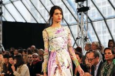 Mary Katrantzou - mylar fabric dress. The prints looks like it's on oil cloth except is light and delicate with sheer chiffon sleeves