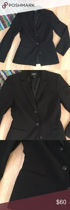 """Express black blazer Super sleek black Express stretch blazer. It has 3 buttons in front, 2 styles of pockets on front (see photos--I think this makes it super unique!). Excellent condition, no flaws. I don't get much use out of this anymore, so it needs a new home  Measurements: L 25"""" bust 18""""  Shell 52% polyester 34% rayon 4% spandex Body lining 51% rayong 49% acetate Sleeve lining 100% acetate  Bundle & save!  Reasonable offers accepted. I ship the same or next day! No trades/off app…"""