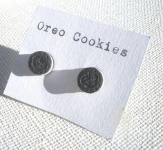 Miniature OREO COOKIE stud earrings by littlecaloriegallery