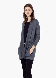 Belt long cardigan - Cardigans and sweaters for Women   MANGO