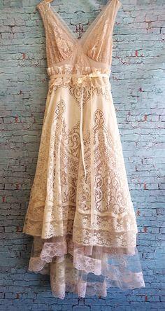 Custom order for danielle ivory & blush asymmetrical crochet lace tulle boho off beat bride wedding dress by mermaid miss k Hippie Stil, Estilo Hippie, Bohemian Style, Boho Chic, Beautiful Outfits, Cool Outfits, Vintage Dresses, Vintage Outfits, Lace Dress