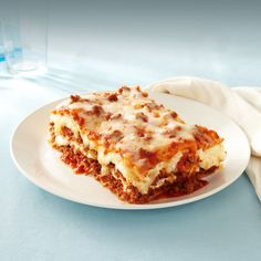 Our delicious home-style baked meat lasagna consists of a rich meat sauce and tender lasagna noodles layered and topped with melted mozzarella cheese.