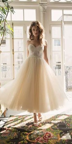 Gorgeous Tea Length Wedding Dresses ❤ See more: http://www.weddingforward.com/tea-length-wedding-dresses/ #weddingforward #bride #bridal #wedding