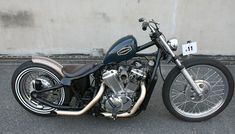 Honda Shadow vt600 custom with peanut tank, front drum brake and bare metal ribbed rear fender