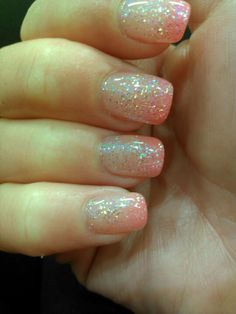 Pink Glitter Ombre Nails