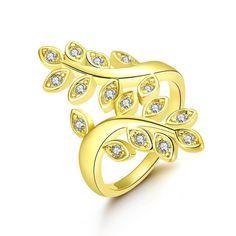 Gold Plated Vine Inspired Ring, Women's