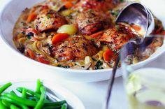 Kuře na houbách a smetaně