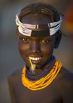 Dassanech tribe girl, Omorate, Ethiopia