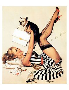 Lucky Dog  Pin Up Girl  Print It Yourself  Wall by CobraPrints, $2.10