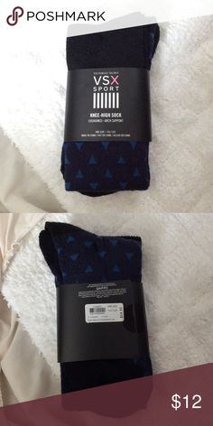 NWT VSX Sport Blue Pattern Knee-High Socks Super cute, brand new! Cushioned. Arch support. No trades! Bundle for best deal! Victoria's Secret Accessories Hosiery & Socks