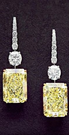 Yellow and White Diamond earrings by Graff.
