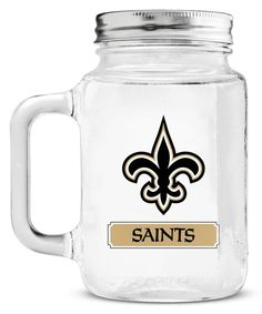 New Orleans Saints Mason Jar Glass With Lid