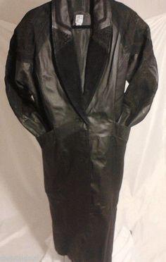 Gregg Bell Women's Leather Full Length Overcoat, Size Small