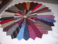 """Necktie quilt """"The Ties that Bind"""" Necktie Quilt, Shirt Quilt, Quilting Projects, Sewing Projects, Kids Crafts, Mens Ties Crafts, Neck Tie Crafts, Ties That Bind, Quilt Making"""
