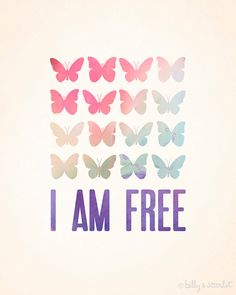 Butterfly Art Print I am Free - 8x10 Inspirational Quote, Watercolour Butterflies, Rainbow, Red, Pink, Green, Blue, Purple
