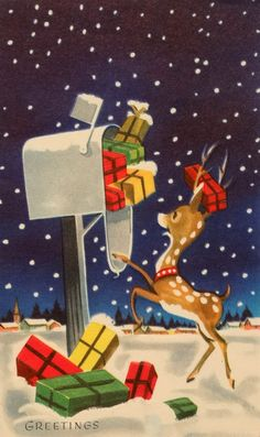 Reindeer at the Mailbox- Vintage Christmas Card-Greeting