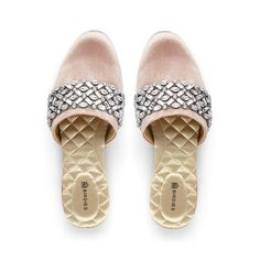 cf08c35f7 Fall in love with our romantic rose colored velvet slides featuring  glistening crystal embellishments. Romantic
