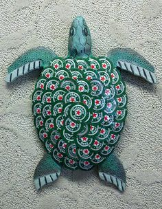 """Heinie"" the turtle, one of Cochrane's creations (Photograph courtesy Beach House Bottlecap Art)"