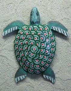 """Heinie"" the turtle, one of Cochrane's creations (Photograph courtesy Beach House Bottlecap Art)"