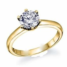 1/2 Carat Round Cut Diamond Solitaire Engagement Ring 18K Yellow Gold 6 Prong (D-F, I2, 0.5 c.t.w) Very Good Cut... $1,123.00