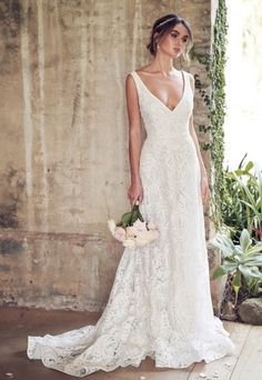 Anna Campbell 2019 Bride Sleeveless V-Neck Full Ornament Elegant Romantic . - To the wedding - Anna Campbell 2019 Bride Sleeveless V-neckline Full Embellishment Elegant Romantic … - Bridal Collection, Dress Collection, Applique Wedding Dress, V Neck Wedding Dress, Simple Lace Wedding Dress, Lace Wedding Gowns, Romantic Wedding Dresses, Wedding Dresses With Straps, Sheath Lace Wedding Dress