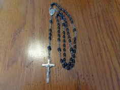 Vintage Black Rosary Beads Made In France 1950's  by TessesAttic