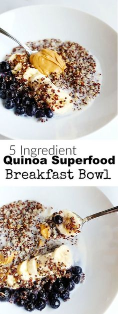 Easy 5 Ingredient Quinoa Superfood Breakfast Bowl with blueberries, bananas, and Peanut Butter!