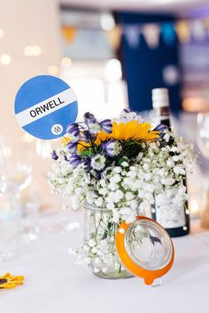 Jar Flowers Gypsophila Sunflowers Table Name Crafty Book Art Gallery Wedding http://www.pauljosephphotography.co.uk/