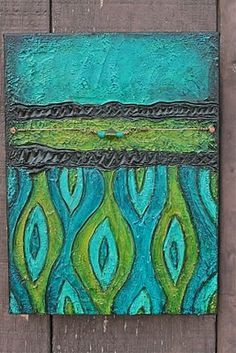 """Finding Balance"" textured mixed media painting by Esther Orloff"