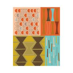 Make your wall pop with this interesting focal point that brings depth and texture to the clean lines in your vintage room. This interesting mid-century modern giclée print is made with care by a talen...  Find the Mid-Century–Modern Abstract Print, as seen in the Mid-Century Classics Collection at http://dotandbo.com/collections/mid-century-classics?utm_source=pinterest&utm_medium=organic&db_sku=95162