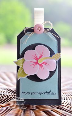 Tropical Sensations; Birthday Greetings; Tropical Sensations Die-namics; Pierced Circle STAX Die-namics; Traditional Tags STAX Die-namics - Joanne Basile