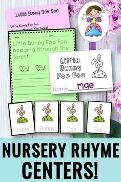 Little Bunny Foo Foo hopping through the forest...I loved this children's fingerplay when I was little! This is a set of literacy tasks that go with this adorable poem. There are centers, retelling, scrambled sentence, handwriting, mini-book, and more! A fun twist on spring themes! #littlebunnyfoofoo #nurseryrhymes