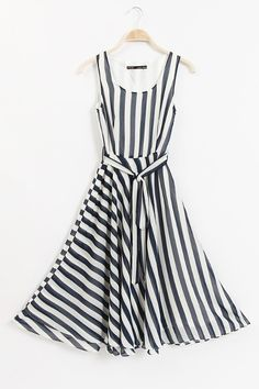 Stylish Stripe Print Belted Dress - just adorable! #stripe #black #white #dress #fashion #tie #party #wedding #dance #dinner