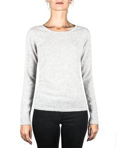 Damen Kaschmir Pullover Rundhals hellgrau front Elegant, Sweatshirts, Tops, Sweaters, Fashion, Cashmere Sweaters, Women's, Classy, Moda