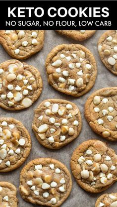 These keto white chocolate macadamia nut cookies are soft, chewy, and loaded with sugar free white chocolate chips! No grains and no sugar needed!