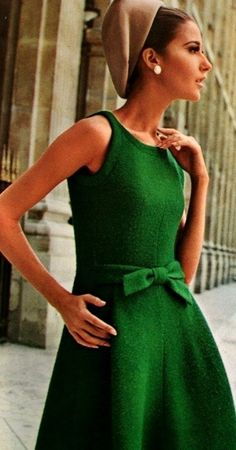 Model weairng a dress by Jean Patou for Vogue Patterns, Summer 1965.