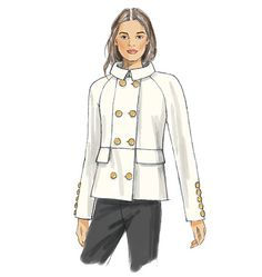 Chic jacket and coat sewing pattern. Double-breasted with collar variations. Very Carolina Herrera, Kate Spade. Vogue Patterns V9157, Misses' Coat