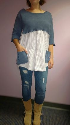 Upcycled sweater top in denim blues, and white. Neckline and arms have been altered and seams stitched to avoid fraying. Pockets made with