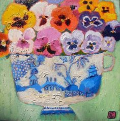"Vanessa Cooper: ""Pansies and Blue Willow"""